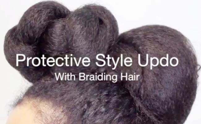 protective style updo using kanekalon braidinghair